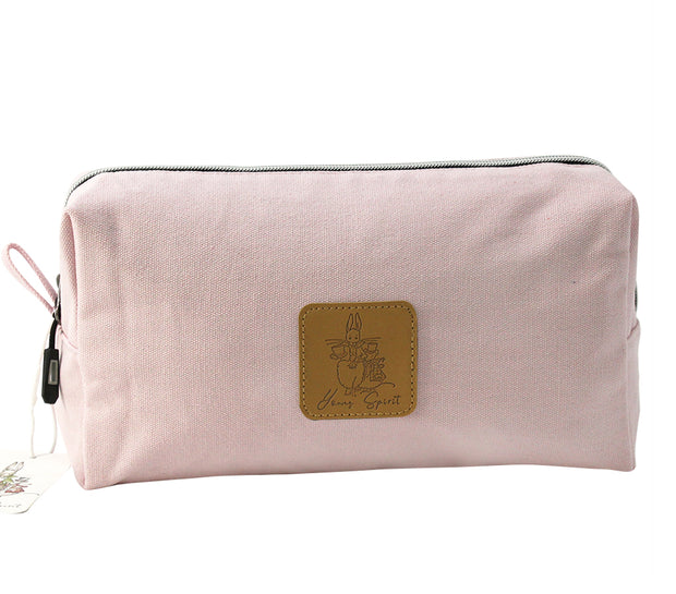 Alice In Wonderland Extra Large Canvas Cosmetic Bag - Pink