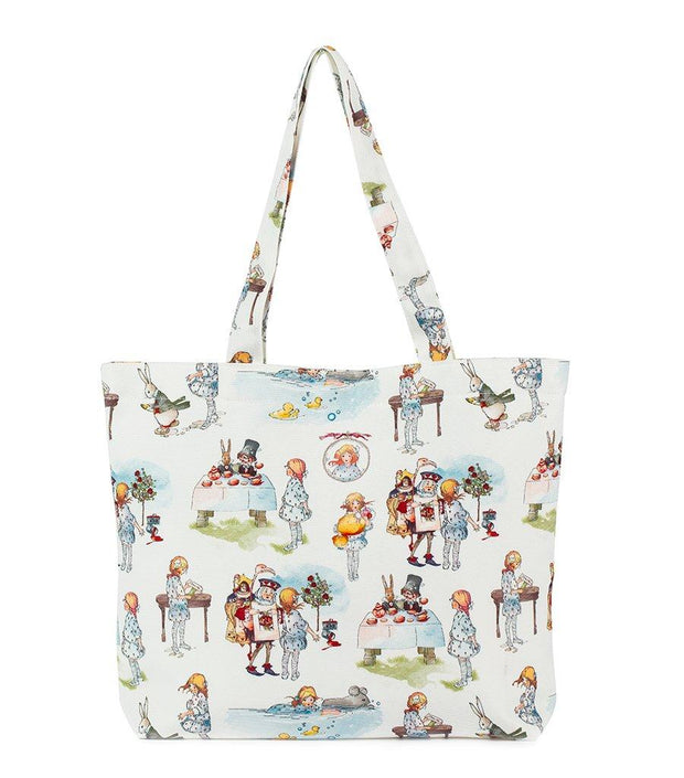 Alice In Wonderland Woman's Canvas Snap Closure Shopping Tote Bag  | Young Spirit Australia