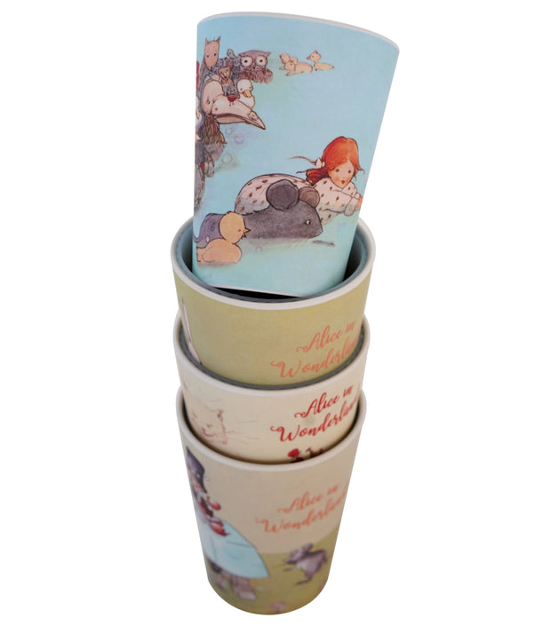 Eco Bamboo - Alice In Wonderland Bamboo Drinking Cups ( Set Of 4 )  | Young Spirit Australia