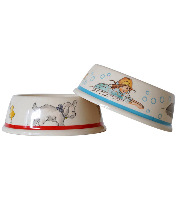Eco Bamboo - Alice In Wonderland Bamboo Pet Bowls Set A (Set Of 2)  | Young Spirit Australia