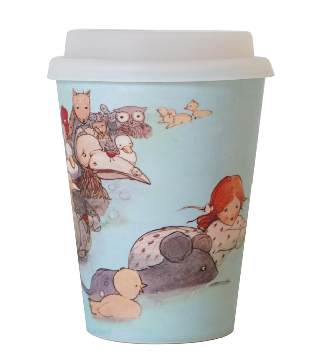 Eco Bamboo - Alice In Wonderland Reusable Bamboo Coffee Keep Cup - Alice Swimming  | Young Spirit Australia