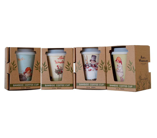 Eco Bamboo - Alice In Wonderland Reusable Bamboo Coffee Cup - Alice With Rabbit  | Young Spirit Australia