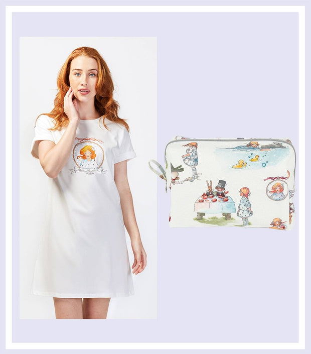 Women's Gift Set - Alice In Wonderland Nightie & Makeup Bag Gift Set  | Young Spirit Australia