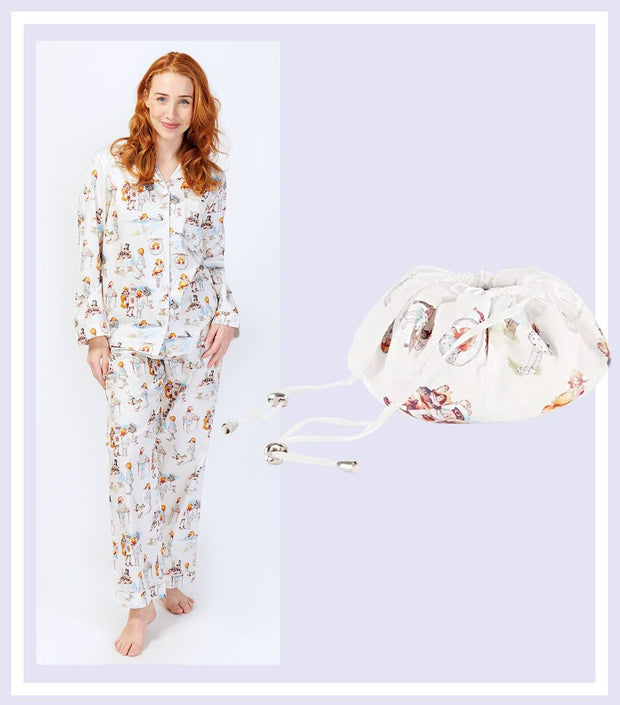 Women's Gift Set - Alice In Wonderland Pyjama & Drawstring Bag Gift Set  | Young Spirit Australia