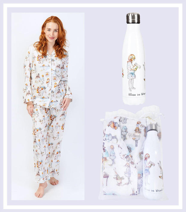 Women's Gift Set - Alice In Wonderland Pyjama & Drink Bottle Gift Set  | Young Spirit Australia