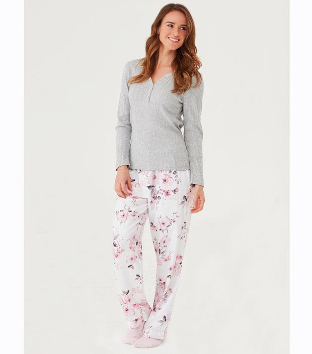 Women's Long Sleep Pyjama Pants - Water Floral Sleep Pant | Young Spirit Australia