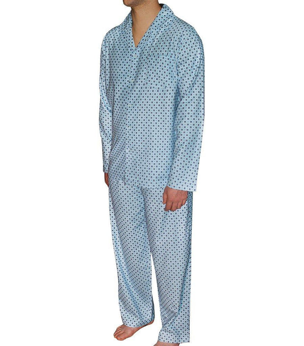 Mens PJ Sets - Mens Light Blue Geo Flannelette Pyjama Set | Young Spirit Australia