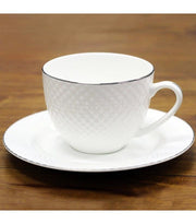 Teacup & Saucer - Fine Bone China White Diamond Embossed Cup And Saucer | Young Spirit Australia