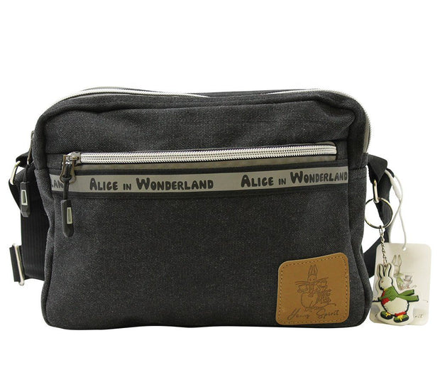 Travel Bag - Alice In Wonderland Canvas Crossbody Shoulder Bag - Black  | Young Spirit Australia