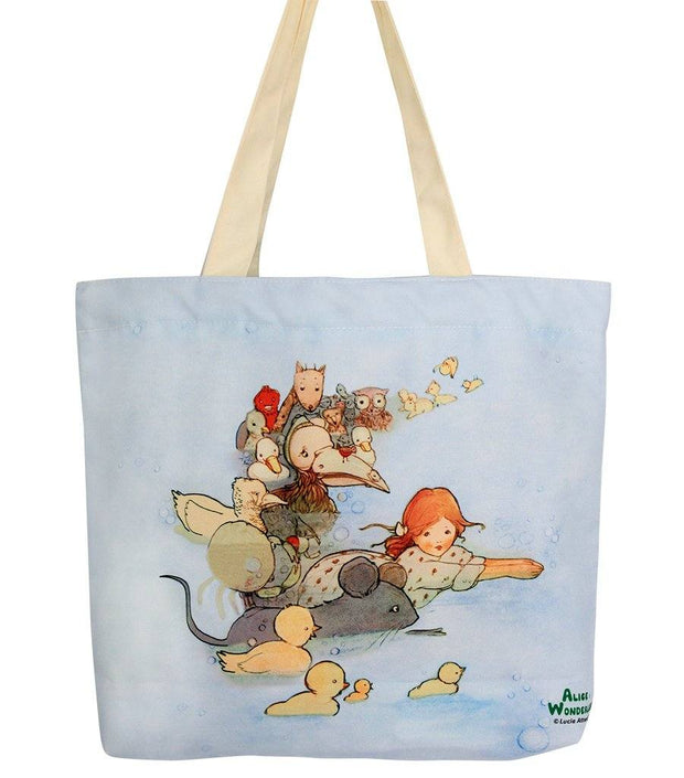 Travel Bag - Alice In Wonderland Canvas Daily Tote Shopping Bag - Alice Swimming  | Young Spirit Australia