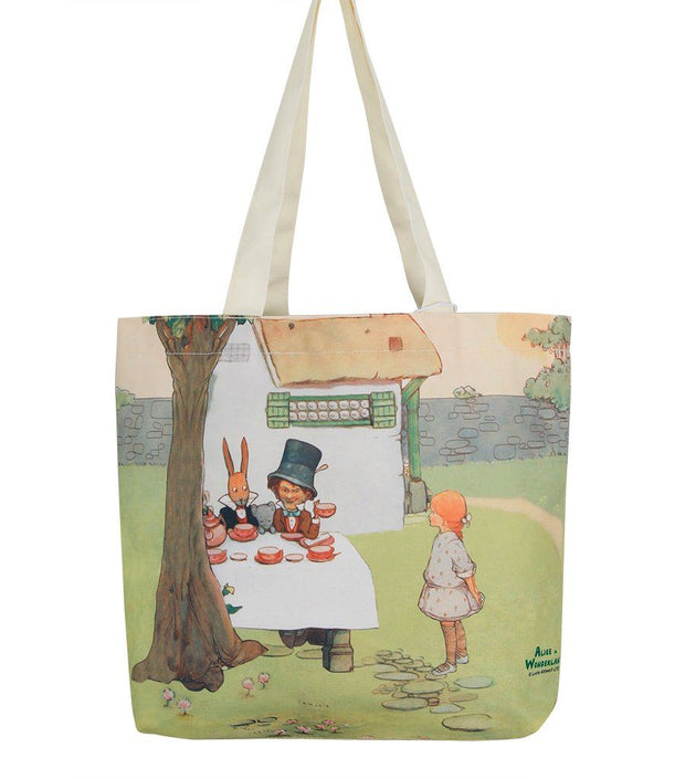 Travel Bag - Alice In Wonderland Canvas Daily Tote Shopping Bag - Alice With Mad Hatter  | Young Spirit Australia