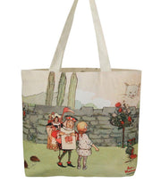 Travel Bag - Alice In Wonderland Canvas Daily Tote Shopping Bag - Alice With Queen  | Young Spirit Australia