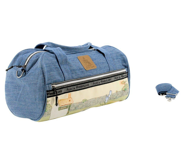 Travel Bag - Alice In Wonderland Denim Carry On Duffle Bag - Alice With Puppy  | Young Spirit Australia