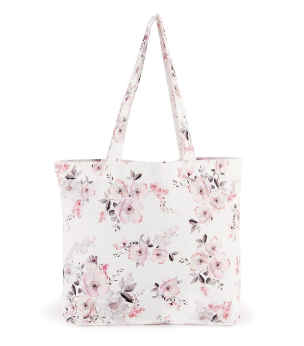 Water Floral Woman's Canvas Snap Closure Shopping Tote Bag  | Young Spirit Australia