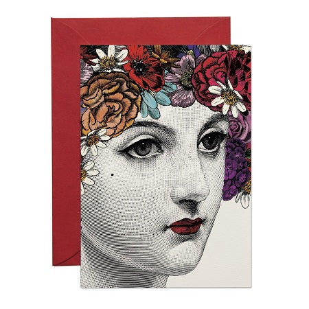 FLOWER LADY GREETING CARD