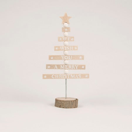 MERRY CHRISTMAS WHITE TREE STANDING DECORATION