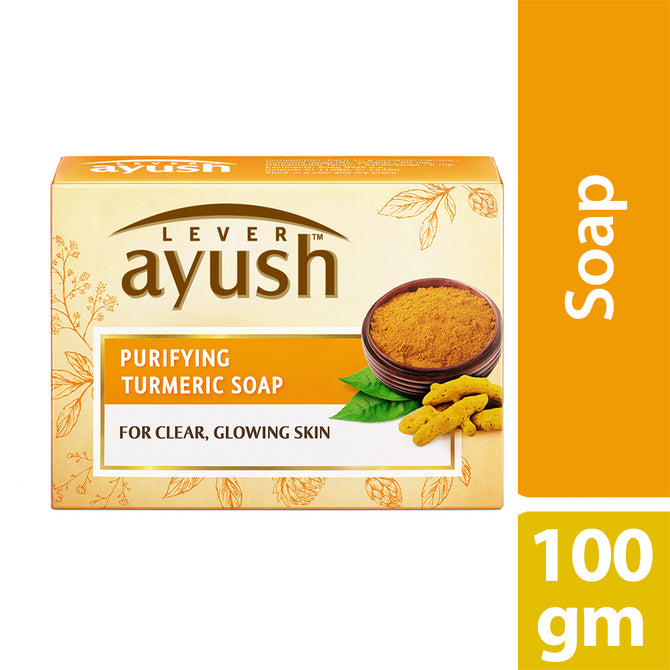 Lever Ayush Soap Bar Natural Purifying Turmeric 100g