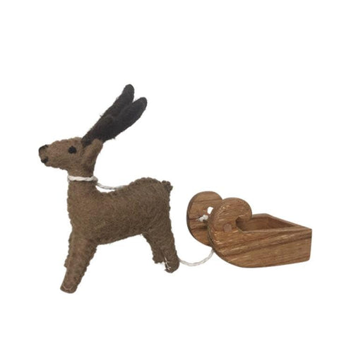 Felt Reindeer and Wooden Sleigh