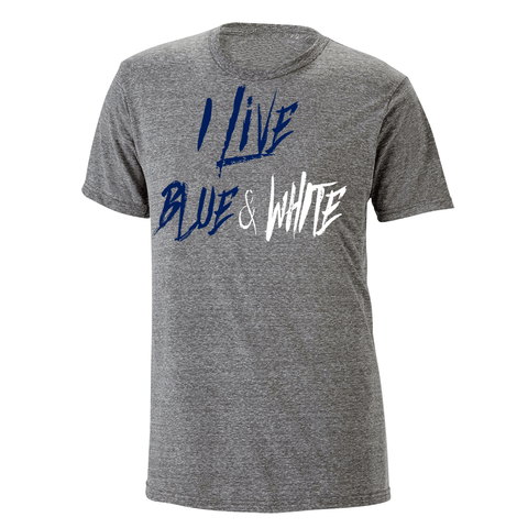 I Live Blue & White Heathered Tee