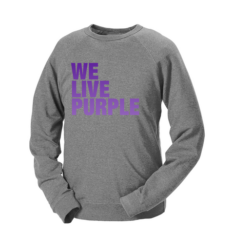 We Live Purple French Terry Crew