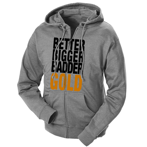 Bigger Better Badder Gold French Terry Zip Hoodie