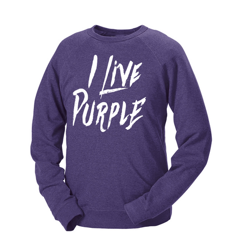 I Live Purple French Terry Crew