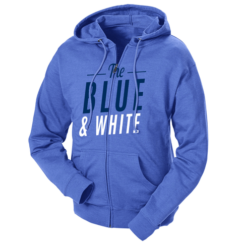 The Blue & White French Terry Zip Hoodie
