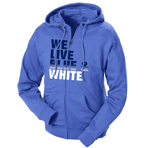 We Live Blue & White French Terry Zip Hoodie