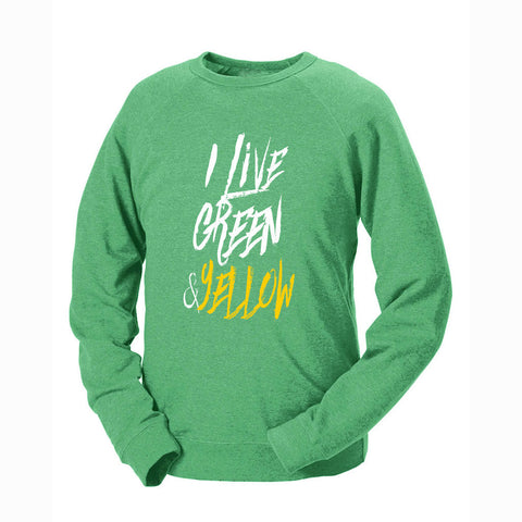 I Live Green & Yellow French Terry Crew