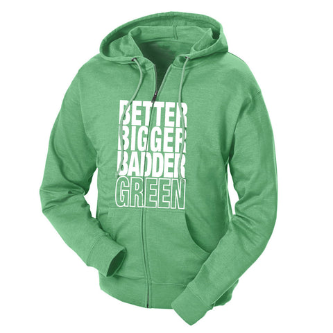 Better Bigger Badder Green & White French Terry Zip Hoodie