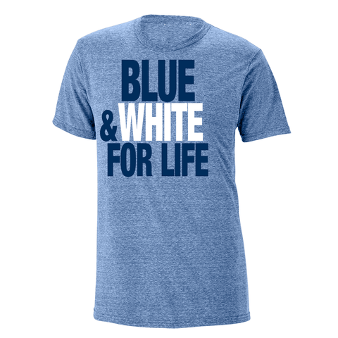 Blue & White For Life Heathered Tee