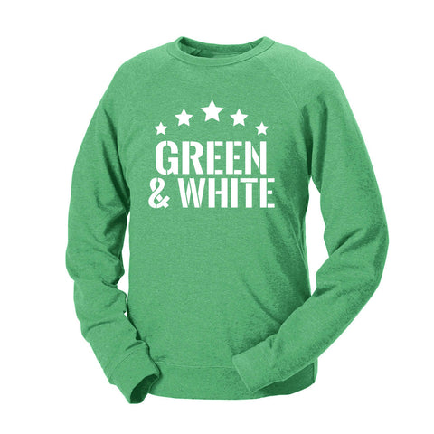 Five Star Green & White French Terry Crew