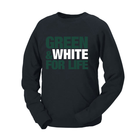 Green & White For Life French Terry Crew