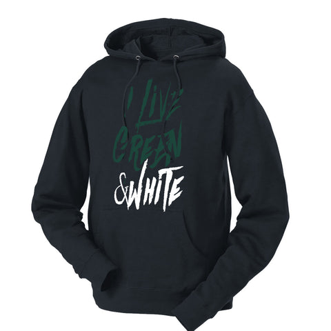 I Live Green & White French Terry Hoodie