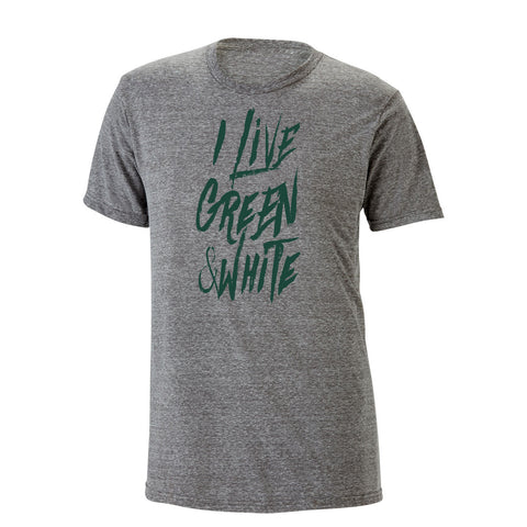 I Live Green & White Heathered Tee