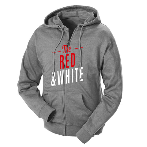 The Red & White French Terry Zip Hoodie