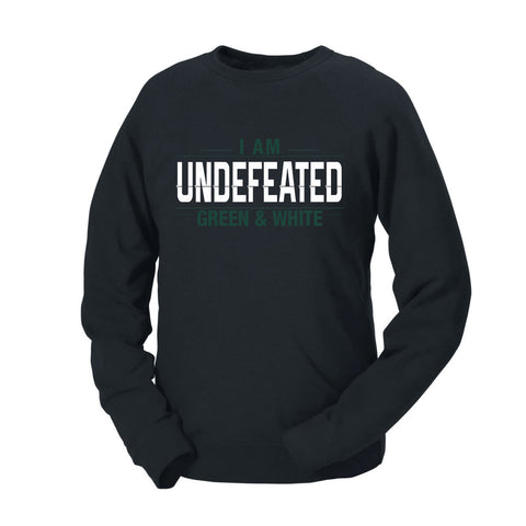 I Am Undefeated Green & White French Terry Crew