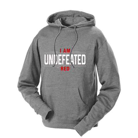 I Am Undefeated Red French Terry Hoodie