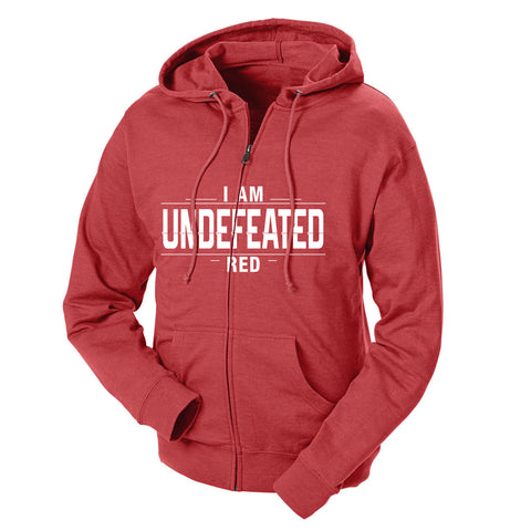 I Am Undefeated Red French Terry Zip Hoodie