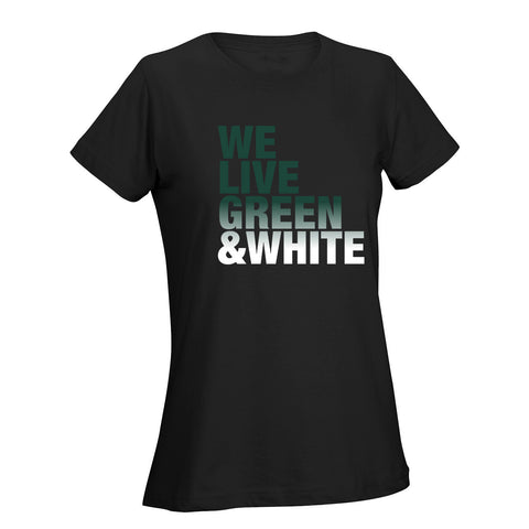 We Live Green & White Ladies Tee