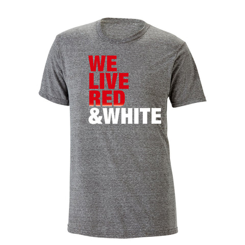 We Live Red & White Heathered Tee