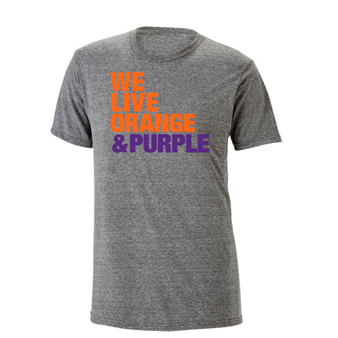 We Live Orange & Purple Heathered Tee