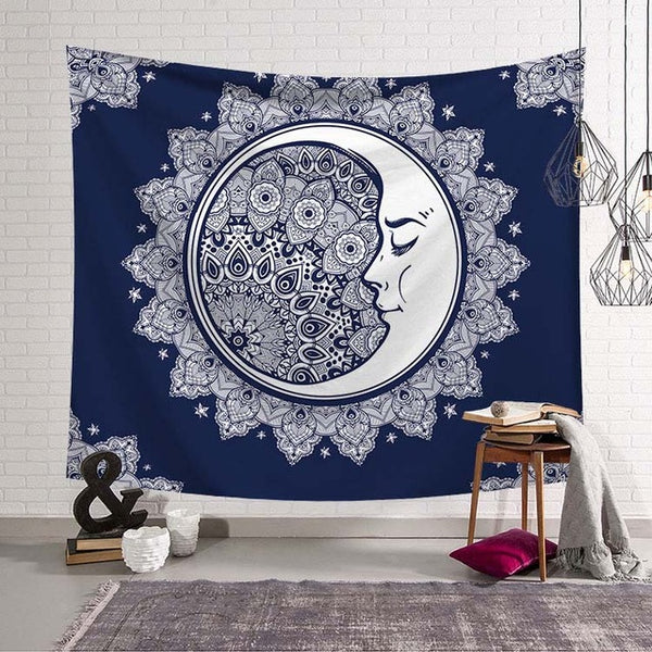 Hypnotic Crescent Moon Tapestry