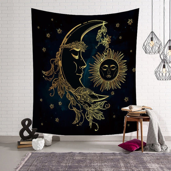Moon Cradles Sun Tapestry