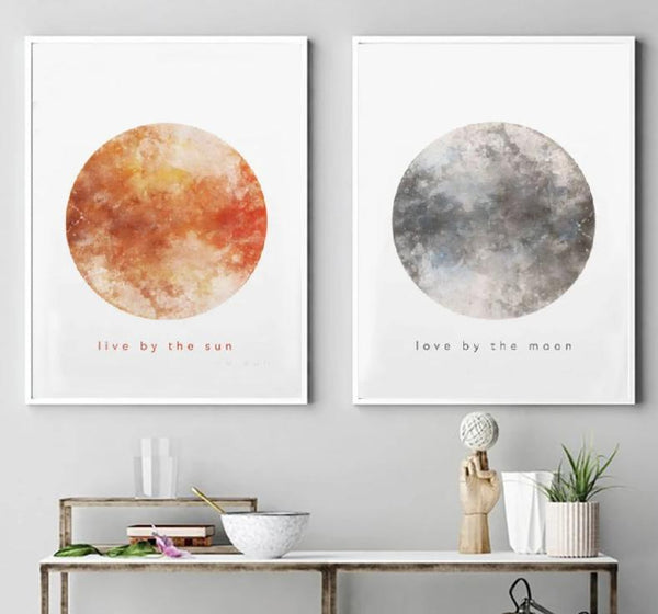 Tranquil Sun and Moon Canvas Posters