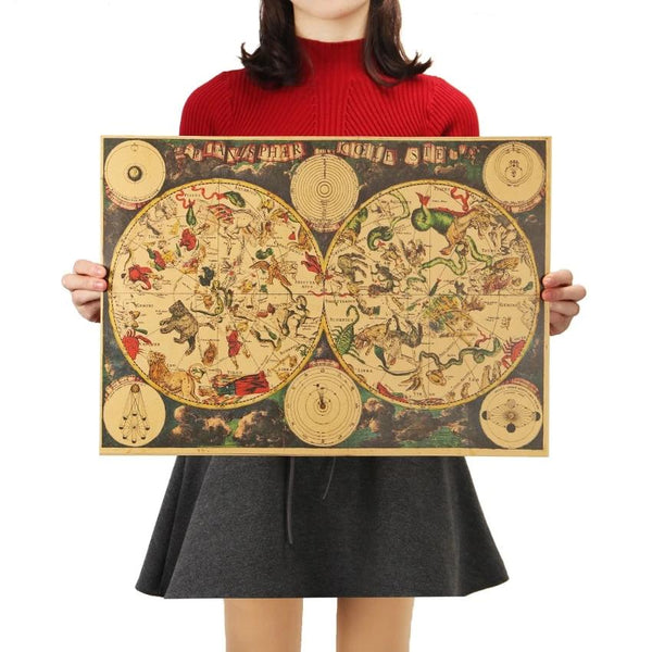 Vintage Zodiac Constellation Map Poster