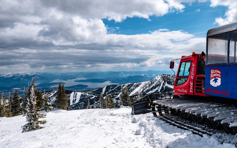 snowcat above lake