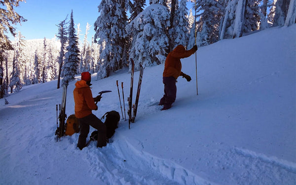 backcountry skiers testing snowpack