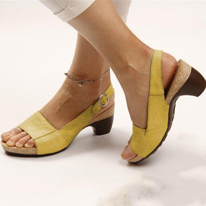 2019 Hot Selling TV Product--Comfortable Elegant Low Chunky Heel Sandals