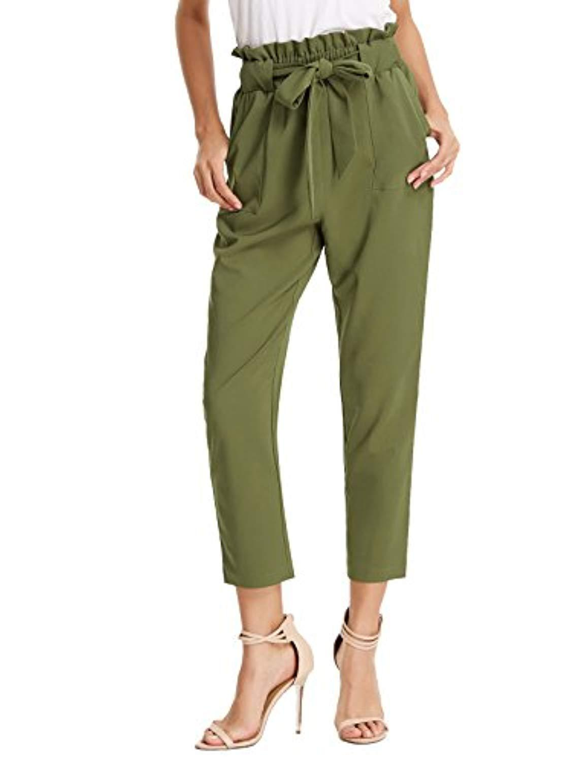 GRACE KARIN Women's Cropped Paper Bag Waist Pants with Pockets